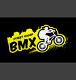 bmx racer emblem in grunge style vector image vector image