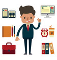 businessman with office equipment vector image vector image
