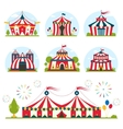 cartoon circus tent with stripes and flags vector image vector image