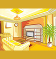 cartoon drawing-room interior in shades of yellow vector image