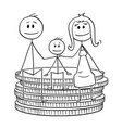 cartoon happy family sitting on small stack of vector image vector image
