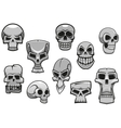 Cartoon human scary Halloween skulls vector image