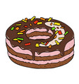 cartoon image of doughnut vector image vector image
