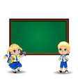 cartoon schoolgirl and schoolboy standing near vector image vector image