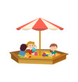 children playing in the sandbox on playground vector image vector image