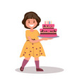 children s birthday girl holding a large cake vector image
