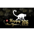 Chinese new year 2016 silhouette gold text vector image vector image