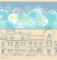 christmas card blue sky snowflakes border vector image vector image