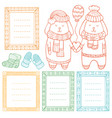 collection doodle winter borders vector image vector image