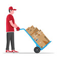 courier with barrow full boxes isolated vector image
