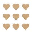 Craft paper hearts vector image vector image