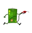 Credit card character with gasoline pump vector image vector image