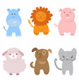 cute set of zoo animals vector image vector image