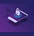 cyber security smartphone screen locked with vector image