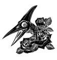 dinosaurus pterodactyl head black silhouette art vector image