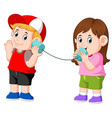 experimenting talking on a wired tin cans phone vector image vector image