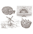 fresh bread and a oven windmill vector image vector image