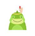 funny dinosaur in feathered headgear cute cartoon vector image vector image
