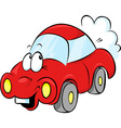 funny red car cartoon vector image vector image