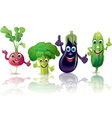 Funny vegetables radishes broccoli eggplant vector image vector image