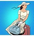 girl passenger luggage vector image