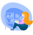 girl read book flat vector image vector image