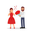 guy giving flowers to his girlfriend young woman vector image vector image