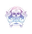 hand drawn sketch sport skull vector image vector image