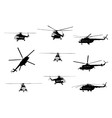 Helicopter of set silhouette vector image