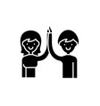 high five black icon sign on isolated vector image vector image