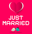Just Married Pink Retro Card with Love Birds and vector image vector image