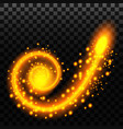 light effect spiral with sparks golden vector image