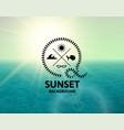 lime sunset with green water sea surface vector image vector image