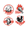 logo chicken and rooster emblems with red text on vector image