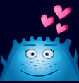 love blue monster with heart vector image vector image