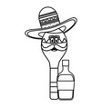 maraca with mexican hat character and tequila vector image vector image