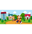 monkey cartoon going to school vector image vector image