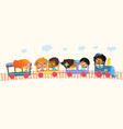 multiracial school kids boys and girls laughing vector image vector image