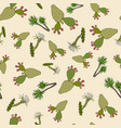 nature seamless pattern with cactuses and yucca vector image vector image