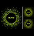 new year 2019 card green backgrounds set vector image
