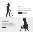 old man and woman set of web banners silhouettes vector image