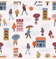people in the rain autumn