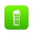 popcorn box icon green vector image vector image