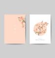 romantic trendy wedding invitation cards set vector image