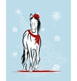 Santa horse sketch for your design Symbol of 2014 vector image vector image