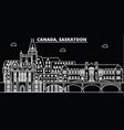saskatoon silhouette skyline canada - saskatoon vector image vector image