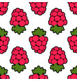 seamless raspberry background white pink pattern vector image vector image