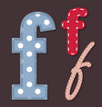 set stitched font - letter f vector image vector image