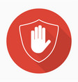 shield with hand block icon in flat style vector image vector image