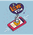 stroked phone with text i love you vector image